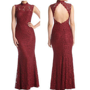 Betsy & Adam Burgundy Open Back Lace Formal Gown